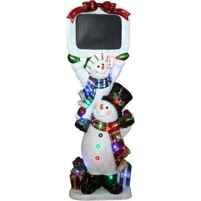 5 ft. Christmas Stacking Snowman Pair with Chalkboard with Long-Lasting LED Lights