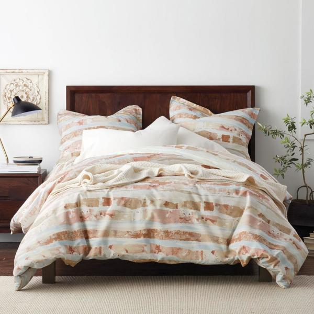 Sky Multicolored Geometric Organic Cotton Percale King Duvet Cover