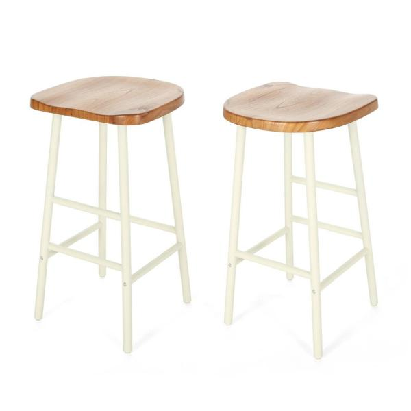 Noble House Merlyne 29.75 in. Natural Stained Wooden Bar Stools with