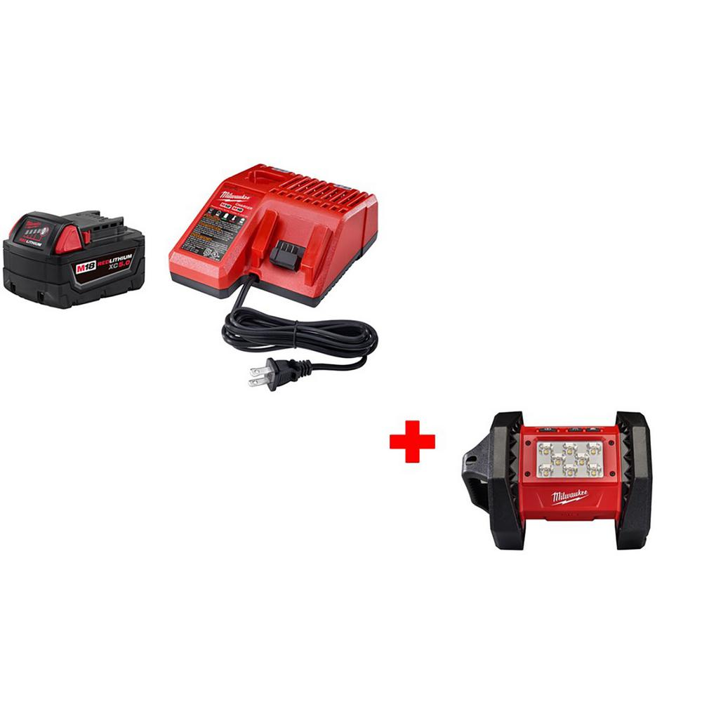 Milwaukee M18 18-Volt Lithium-Ion Cordless 5.0Ah Starter Kit with M18 18-Volt Lithium-Ion Cordless LED Flood Light