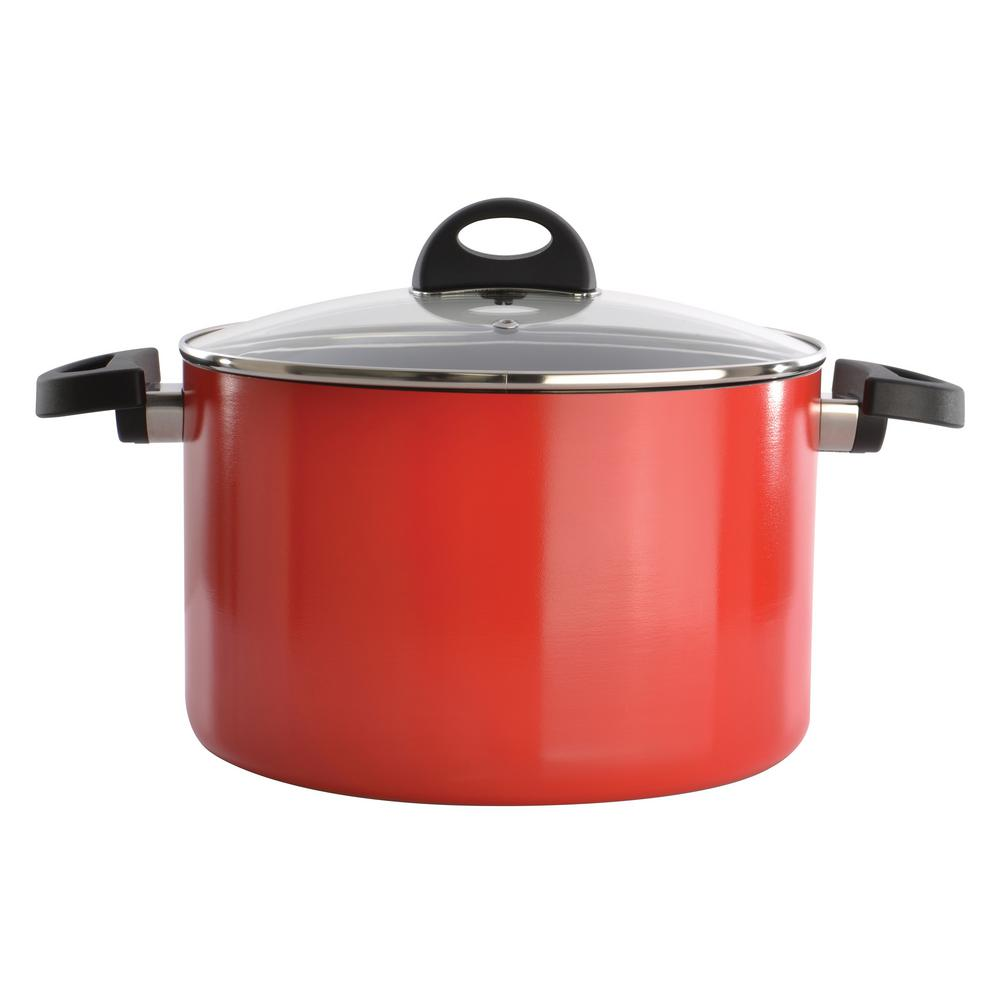 Eclipse 7 Qt. Aluminum Non-Stick Red Stock Pot with Lid