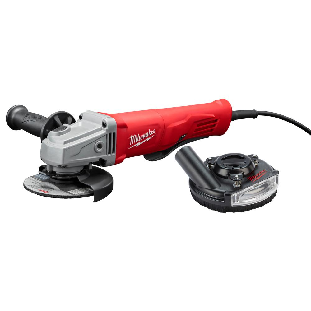 Milwaukee 4-1/2 in. Small Angle Grinder with Shroud Paddle With Lock-On
