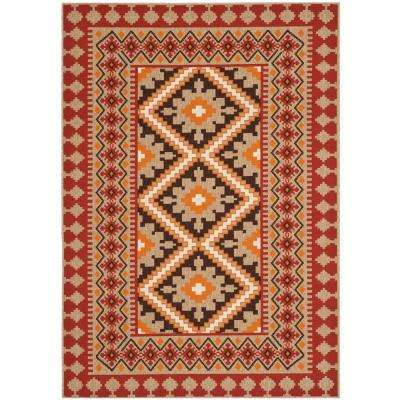 Veranda Red/Natural 5 ft. x 8 ft. Indoor/Outdoor Area Rug