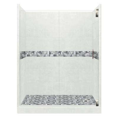 Newport Grand Hinged 32 in. x 60 in. x 80 in. Right Drain Alcove Shower Kit in Natural Buff and Satin Nickel Hardware