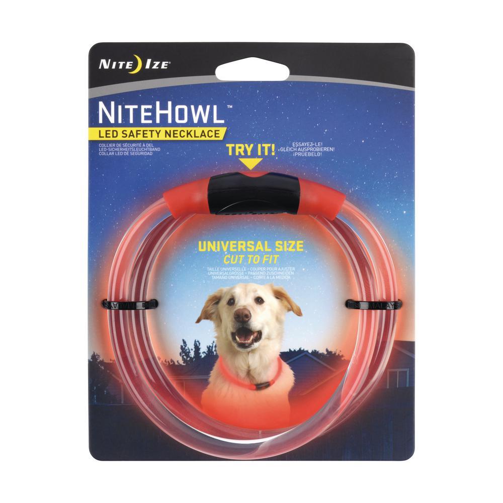 Pet Dog Safety Collar LED Bright Flash Light Night Push Button Switch Adjustable
