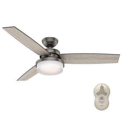 Sentinel 52 in. LED Indoor Brushed Slate Ceiling Fan with Light Kit and Universal Remote