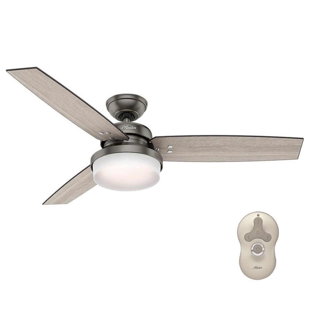 Hunter sentinel 52 in led indoor brushed slate ceiling fan with hunter sentinel 52 in led indoor brushed slate ceiling fan with light kit and universal mozeypictures Choice Image