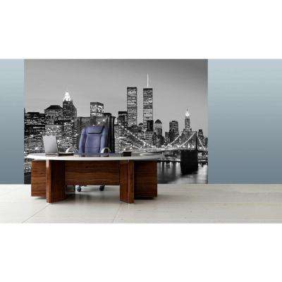 144 in. H x 100 in. W Manhattan Skyline at Night Wall Mural