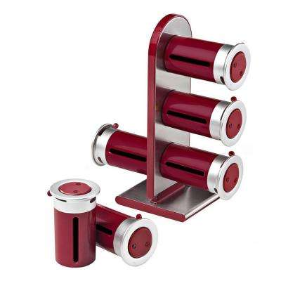 Zero Gravity 6-Canister Countertop Magnetic Spice Stand in Red/Silver