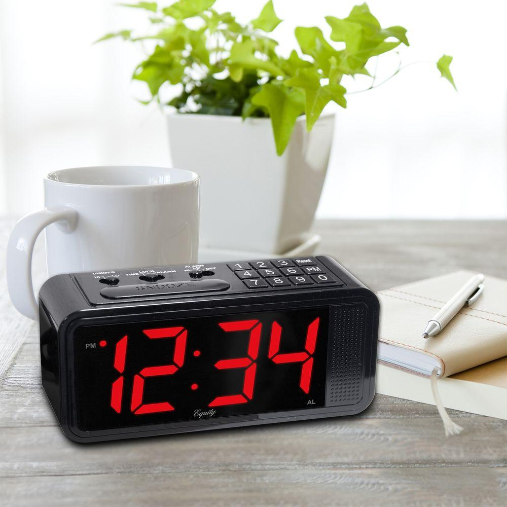 Red 1.8 in. LED Quick Set Electric Alarm Table Clock with...