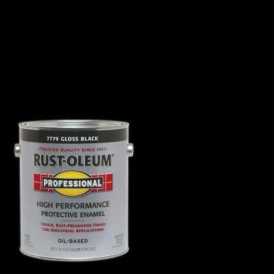 1 gal. High Performance Protective Enamel Gloss Black Oil-Based Interior/Exterior Industrial Paint (2-Pack)