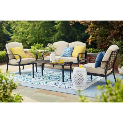 Superb Hampton Bay Laurel Oaks 4 Piece Patio Conversation Set With Putty Cushions