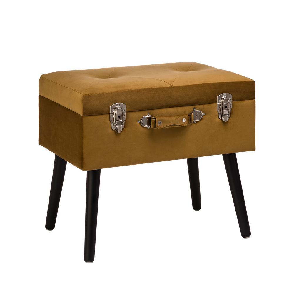 19.70 in. L Glod Velvet Upholstered Storage Stool with Black Solid Rubberwood Legs