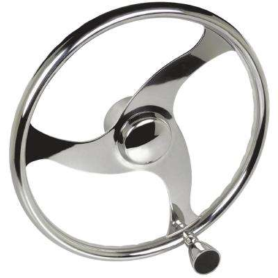 3 Spoke Stainless Steel Steering Wheel with Turning Knob
