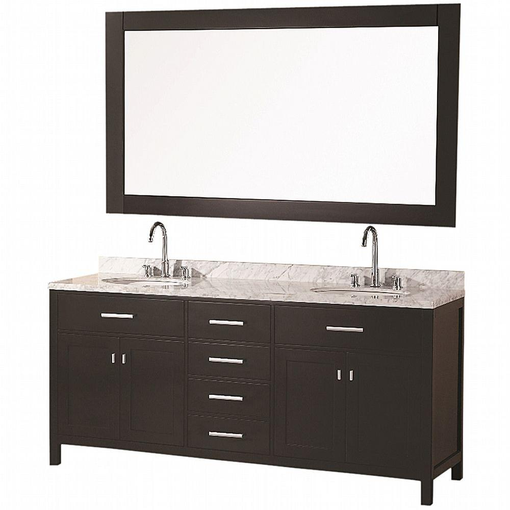 Design Element London 72 in. W x 22 in. D Vanity in Espresso with ...