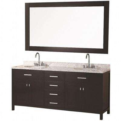 London 72 in. W x 22 in. D Vanity in Espresso with Marble Vanity Top in Carrara White and Mirror