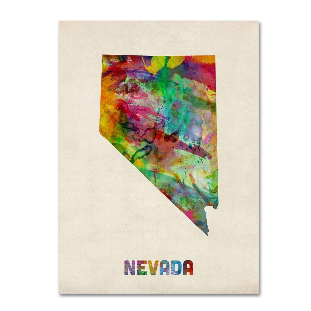 24 in. x 32 in. Nevada Map Canvas Art