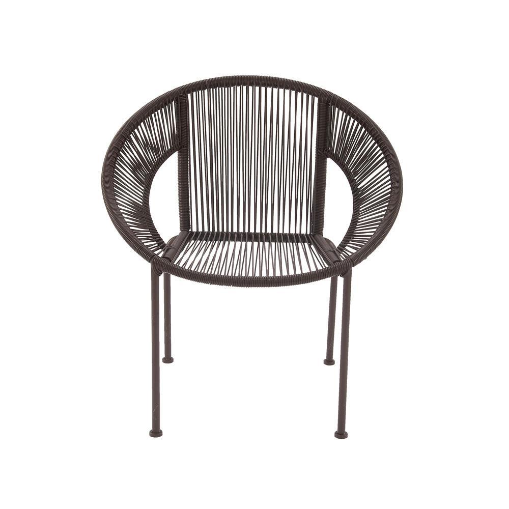 Mahogany Brown Tin and Rattan Round Chair