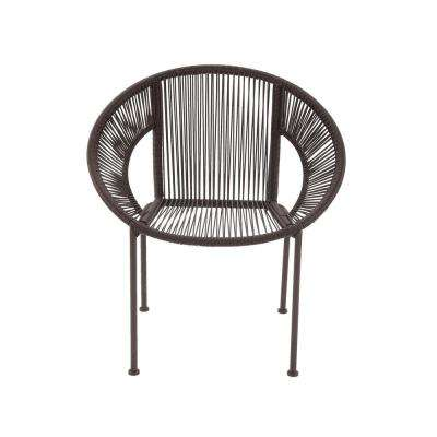 Mahogany Brown Tin and Rattan Round Chair