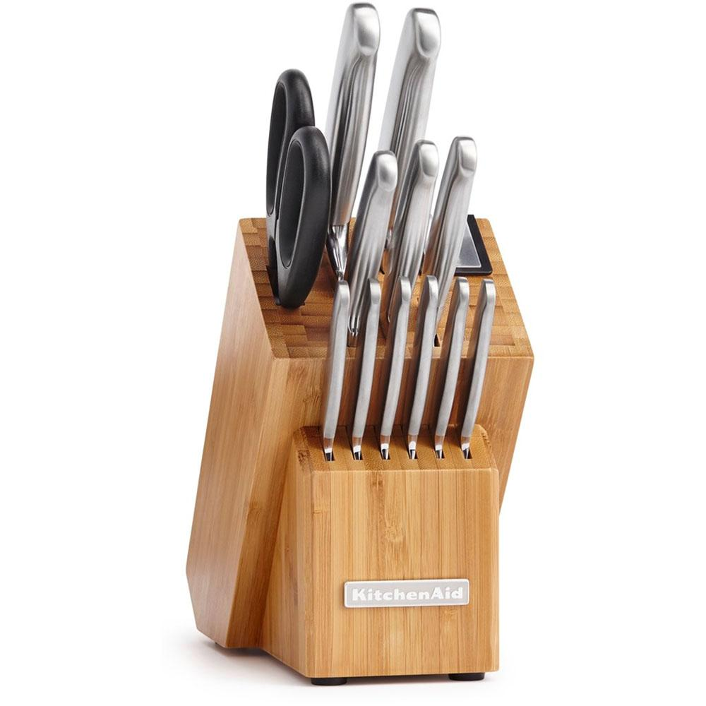 14-Piece Classic Forged Brushed Stainless Steel Cutlery Set with Bamboo Storage
