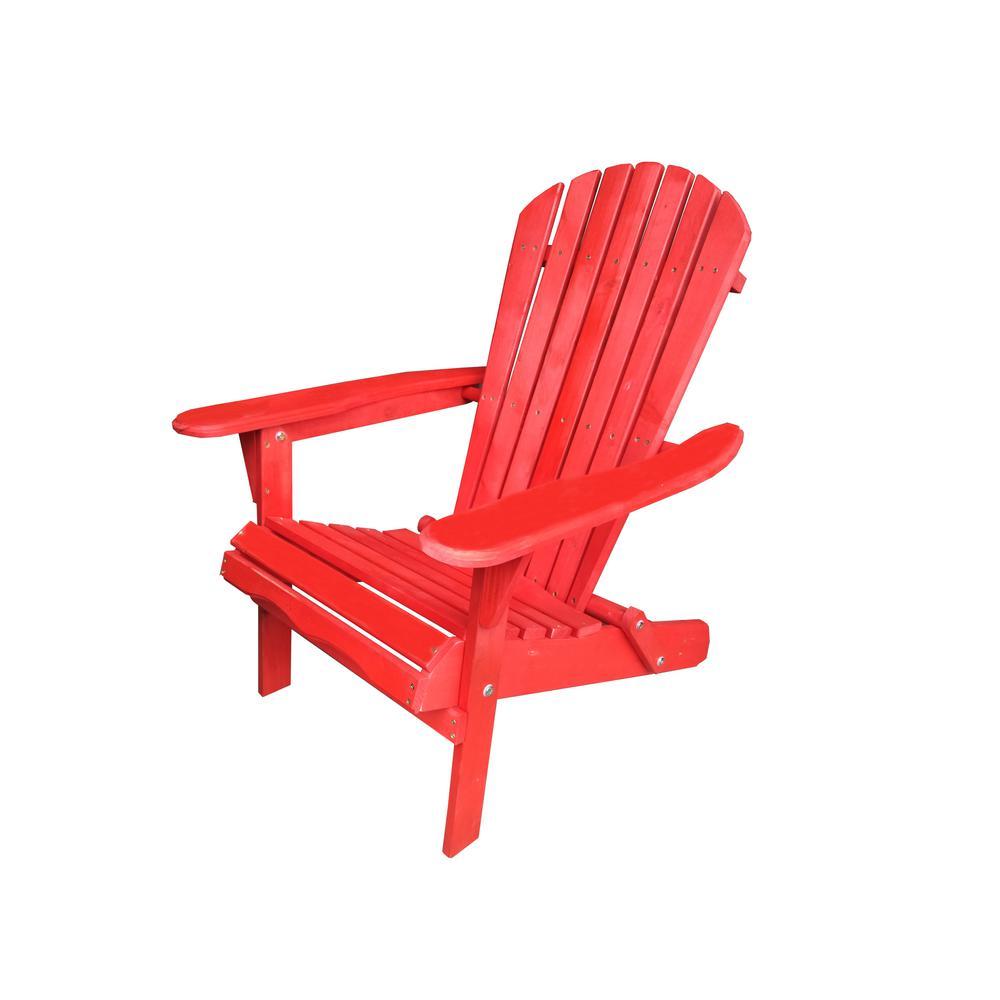 Villaret Red Folding Wood Adirondack Chair