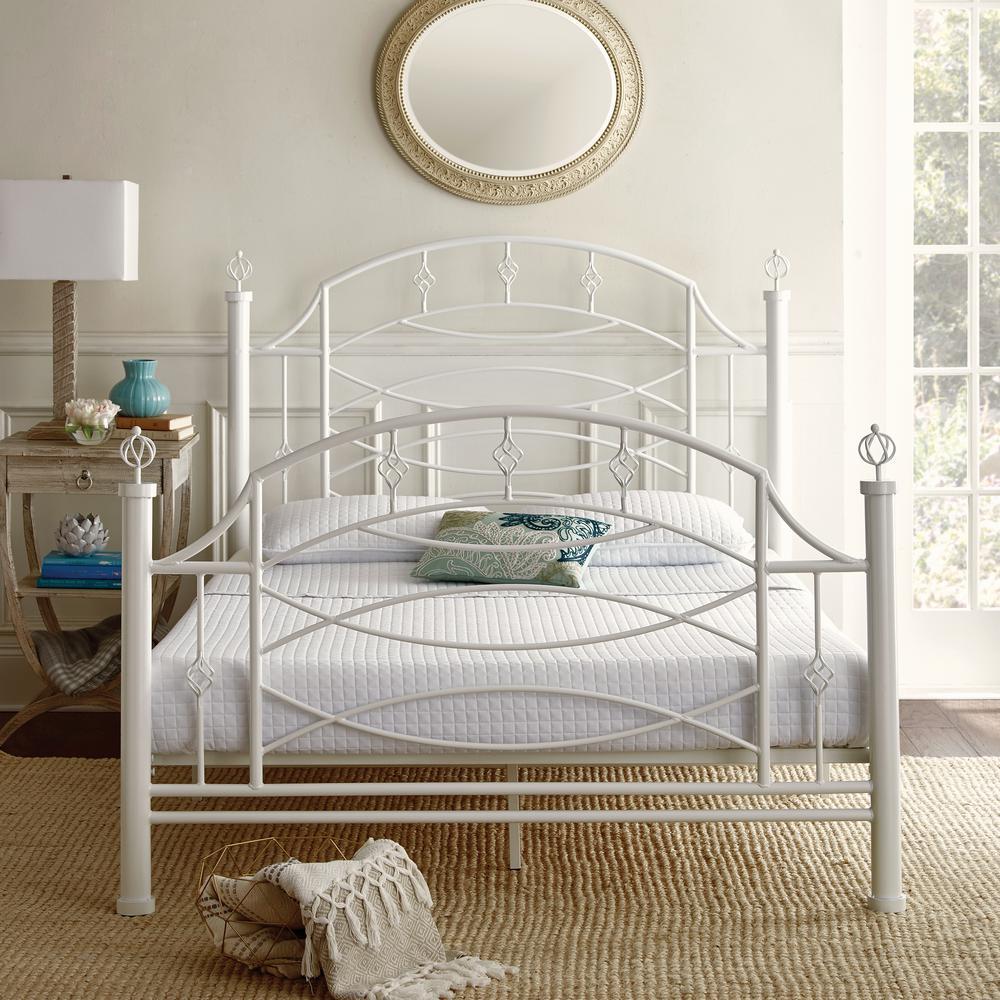 Rest Rite Silvia Decorative White Queen Size Metal Platform Bed Frame