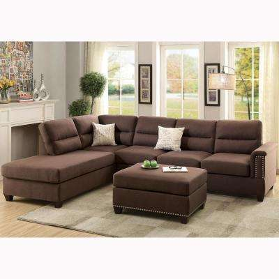 Naples 3 Piece Sectional Sofa In Chocolate With Ottoman · Venetian Worldwide  ...