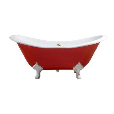 72 in. Cast Iron Clawfoot Non-Whirlpool Bathtub in Red