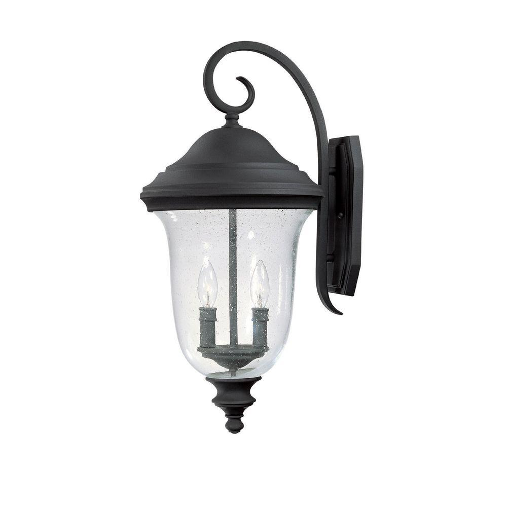 Filament Design 2-Light 25 in. Wall Lantern Black Finish Seeded Glass-DISCONTINUED