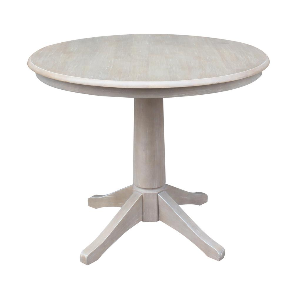 International Concepts Olivia 36 In Round Weathered Taupe Gray Dining Table