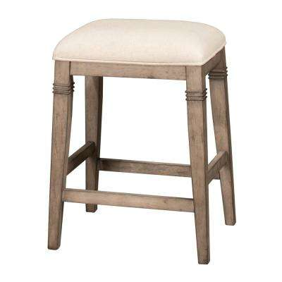 Arabella 25.25 in. Distressed Gray and Ecru Backless Non-Swivel Counter Stool