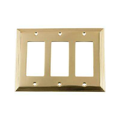 Deco Switch Plate with Triple Rocker in Unlacquered Brass