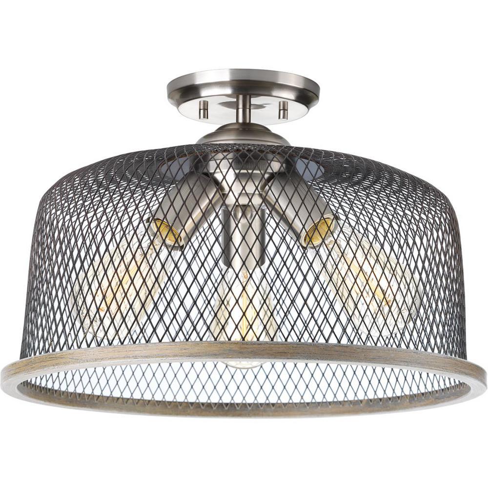 Progress Lighting Tilley Collection 3-Light Brushed Nickel Semi-Flush Mount