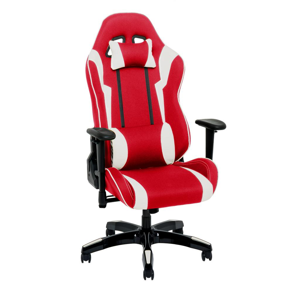 Corliving Red And White High Back Ergonomic Office Gaming Chair With