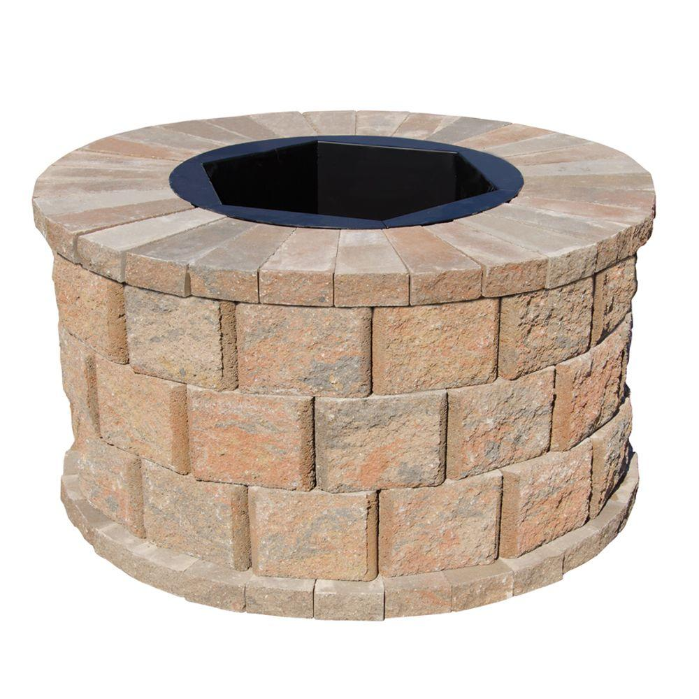 Pavestone 40 in. W x 22 in. H Rockwall Round Fire Pit Kit - Palomino