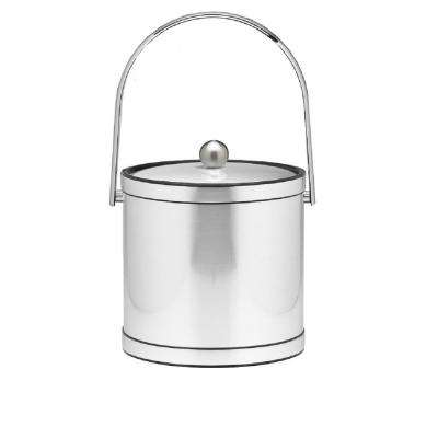 Mylar 3 Qt. Brushed Chrome Ice Bucket with Track Handle and Metal Lid