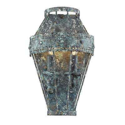 Ferris 2-Light Blue Verde Patina Sconce