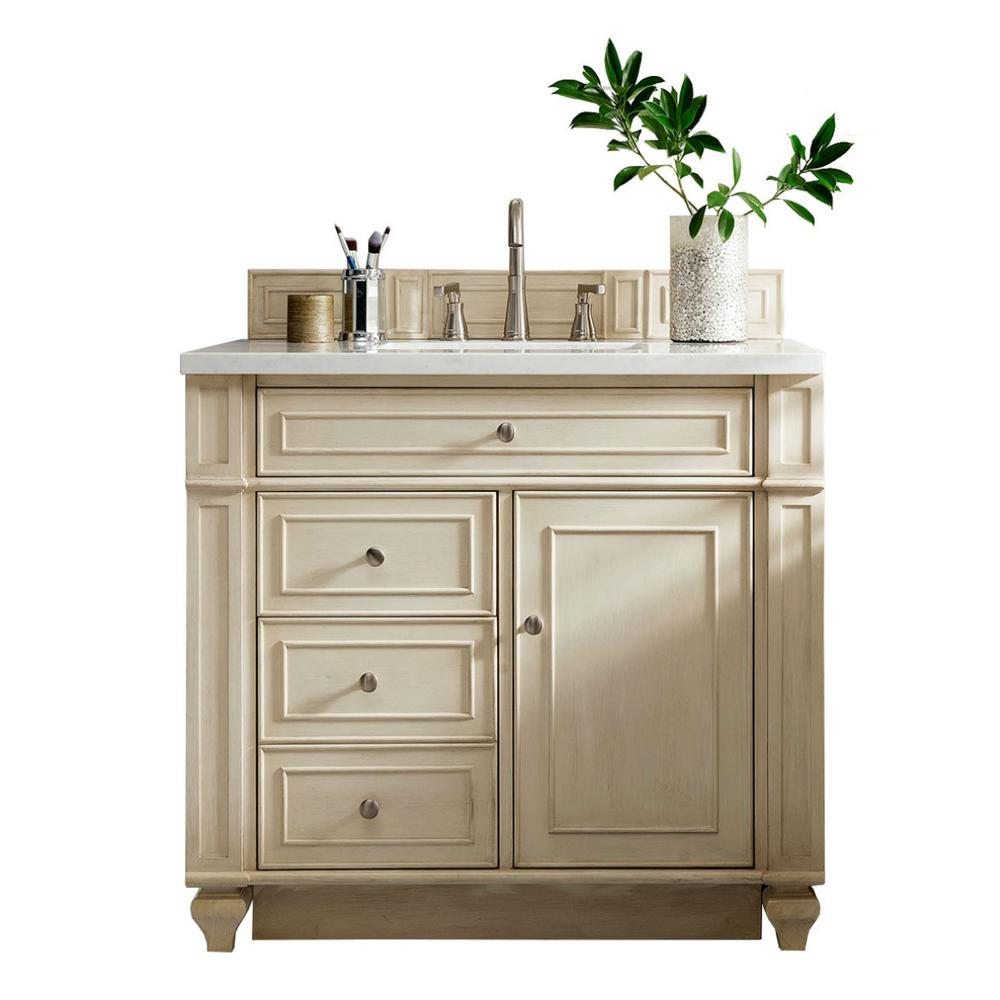 James Martin Signature Vanities Bristol 36 In W Single Vanity Vintage Vanilla With Quartz