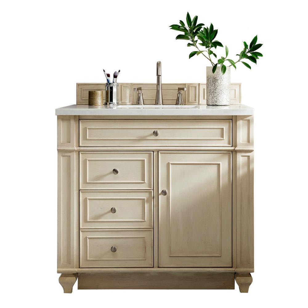 W Single Vanity in Vintage Vanilla with Quartz Vanity Top in White - Off-White - Bathroom Vanities - Bath - The Home Depot