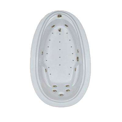 72 in. Acrylic Oval Drop-in Air and Whirlpool Bathtub in Sterling Silver