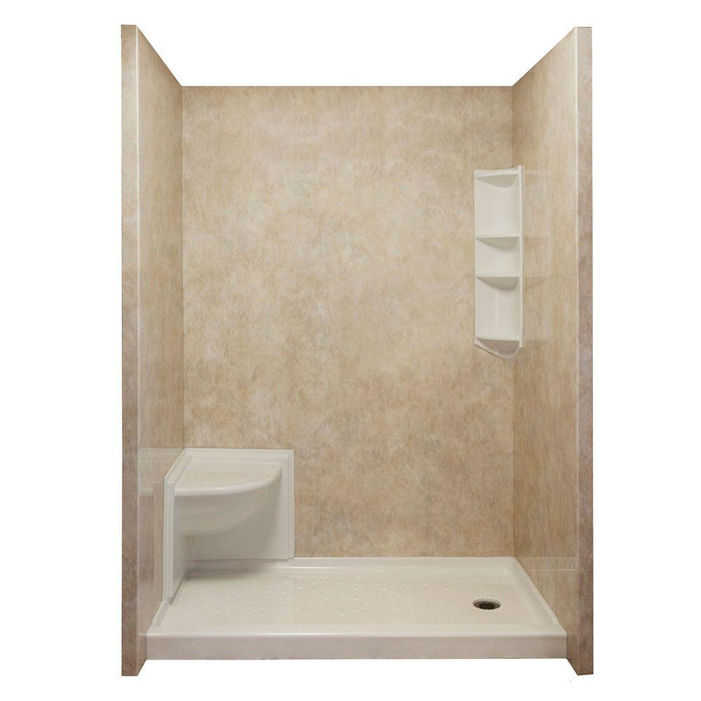 Ella Complete 40 in. x 65 in. x 98.5 in. 3-piece Easy Up Adhesive Shower Surround Package in Travertine