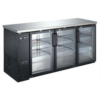 72 in. W 19.6 cu. Ft. Commercial Under Back Bar Cooler Refrigerator with Glass Doors in Stainless Steel with Black