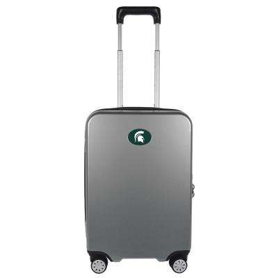 NCAA Michigan State Premium Silver 22 in. 100% PC Hardside Carry-On Spinner Suitcase with Charging Port
