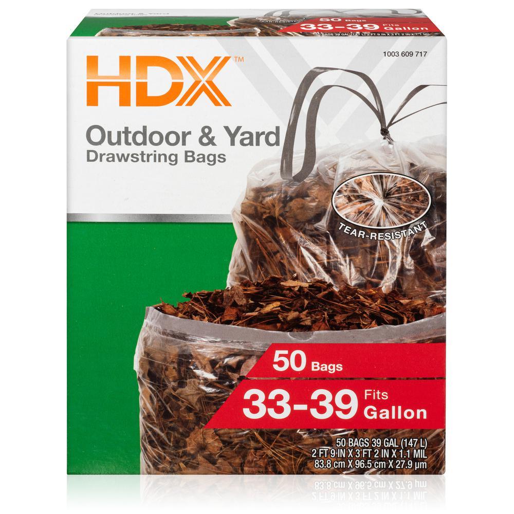 39 Gallon Clear Flex Drawstring Trash Bags (50-Count)