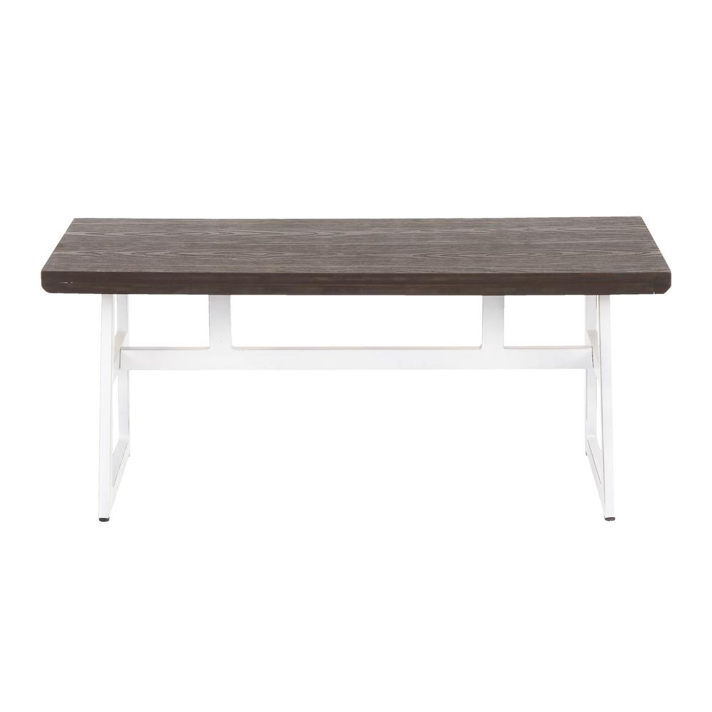 Lumisource Geo Bench In Vintage White Metal And Espresso Wood Bc Vwe The Home Depot