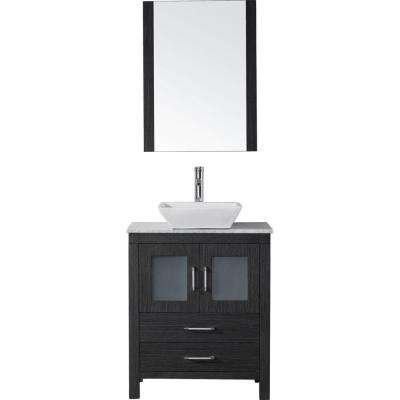 Dior 29 in. W Bath Vanity in Zebra Gray with Marble Vanity Top in White with Square Basin and Mirror and Faucet