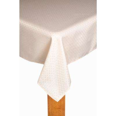 Chelton 60 in. x 102 in. Ivory 100% Polyester Tablecloth