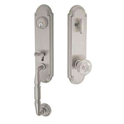 Brushed Nickel Yorkshire Interconnect Interior Handle Set with Cambridge Knob
