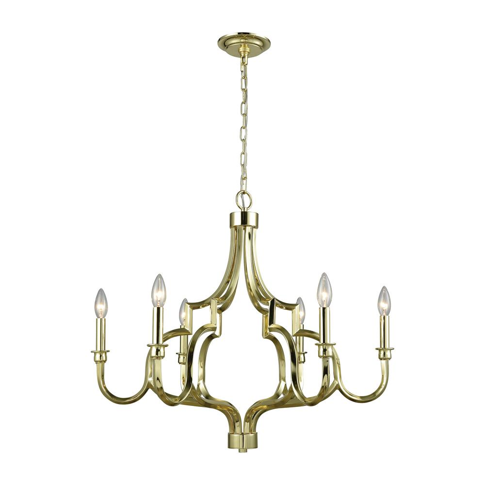 An Lighting Livonia 6 Light Polished Gold Chandelier