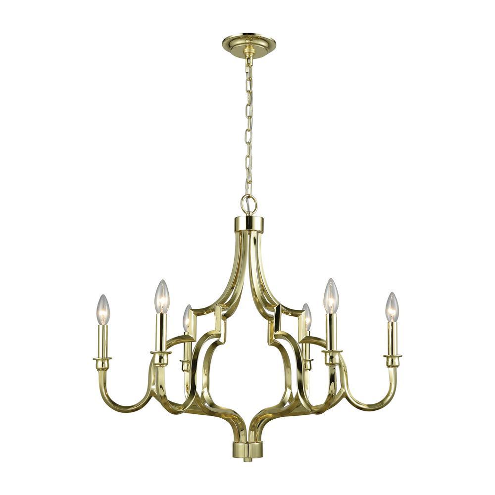 Sputnik chandeliers lighting the home depot livonia 6 light polished gold chandelier arubaitofo Images